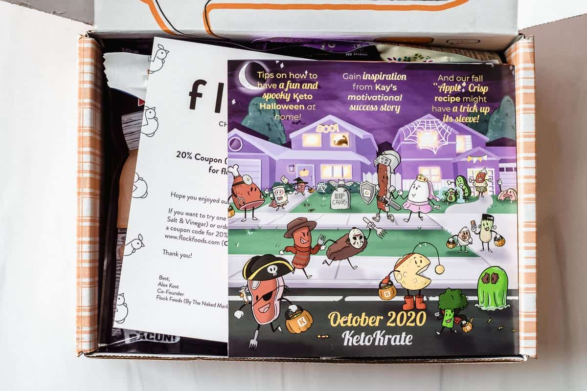 October 2020 Keto Krate opened with the insert on top of the items