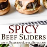 2 images of spicy beef sliders separated by text overlay