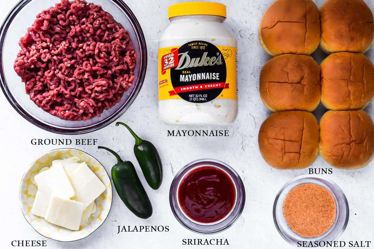 Ingredients to make spicy beef sliders on a white background with labels