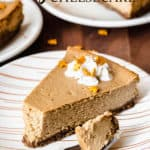 gingerbread cheesecake slice with text overlay