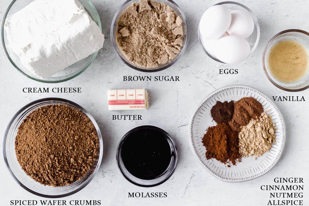 Ingredients needed to make a gingerbread cheesecake with labels