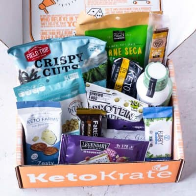 November 2020 Keto Krate with all of the items displayed inside it