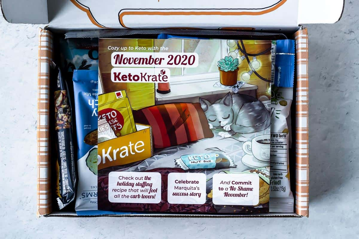 Opened Keto Krate Box with the November 2020 insert card on top