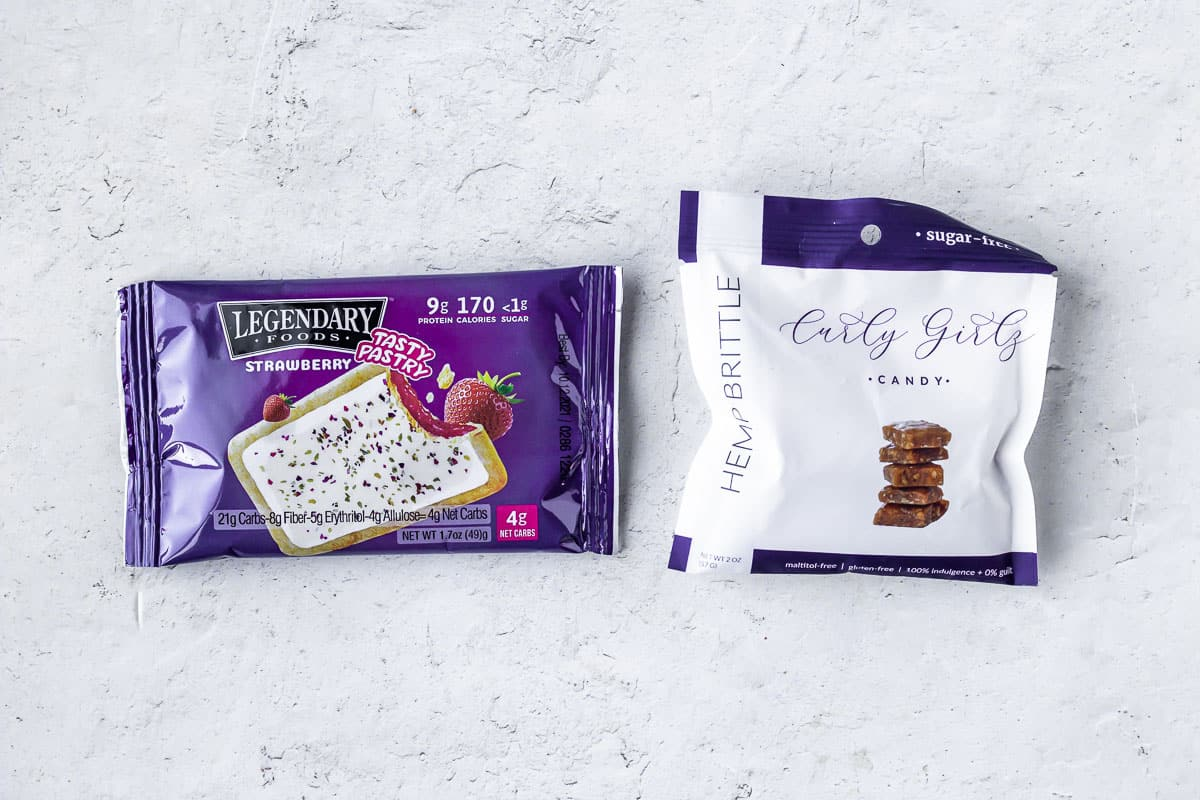 legendary foods tasty pastry and curly girls hemp brittle on a white background