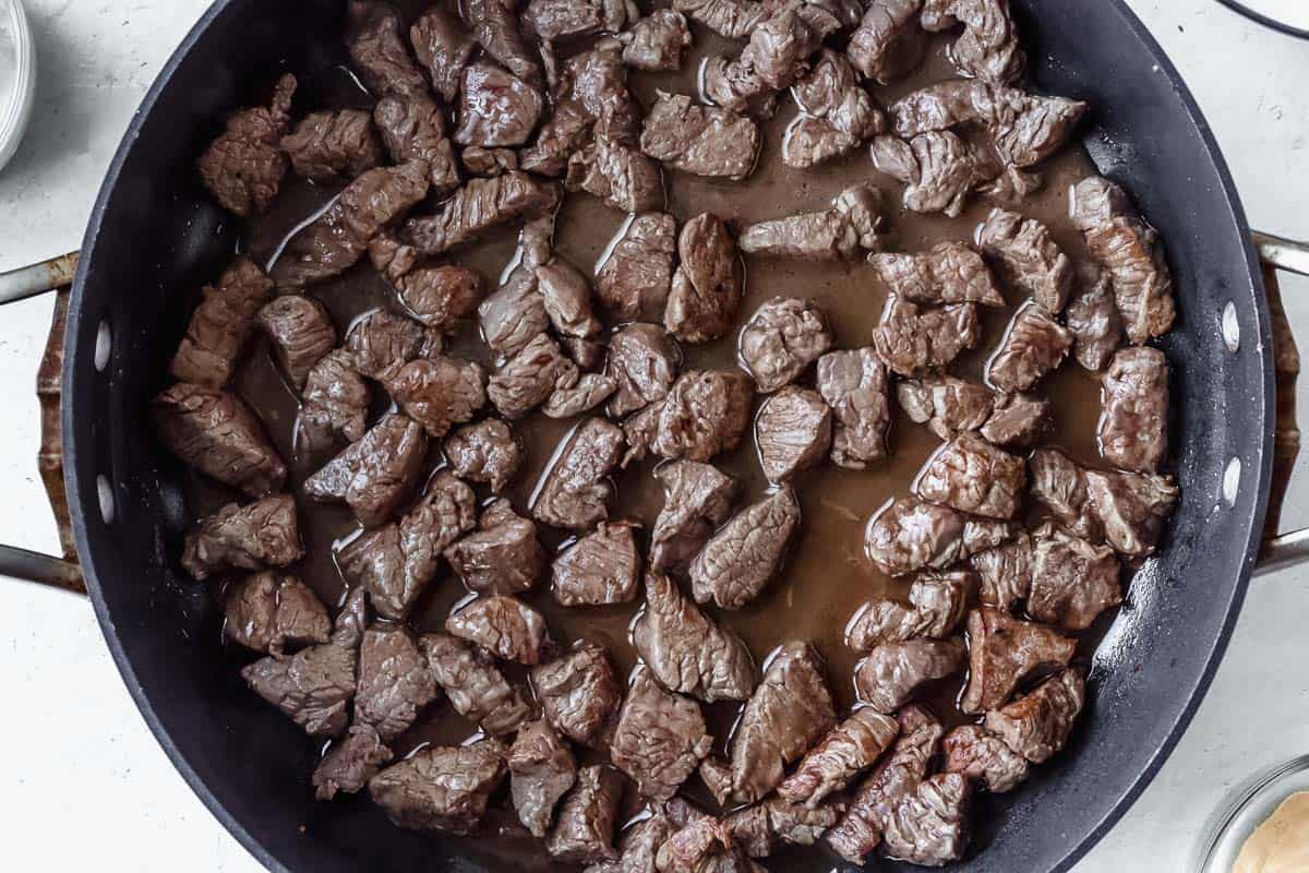 Tenderloin tips cooking in a black. pan over a white background