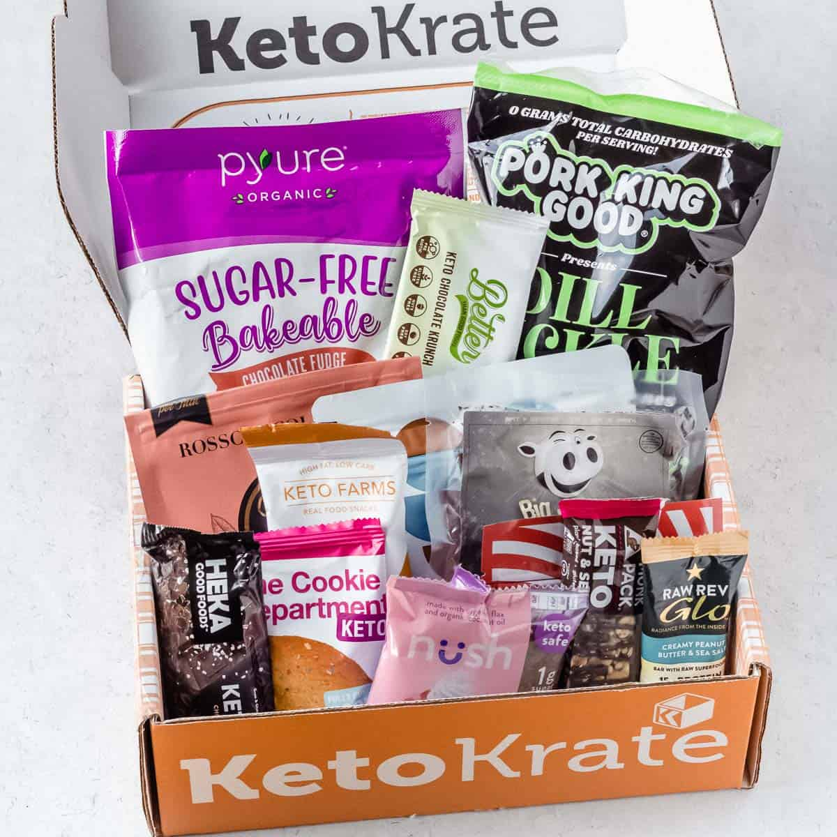 December 2020 Keto Krate items displayed inside of the box