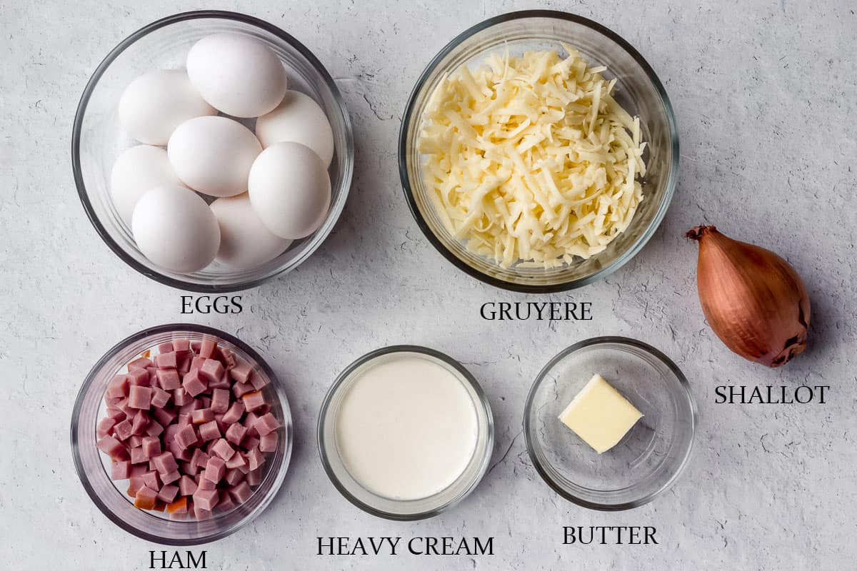 Ingredients needed to make a ham and cheese frittata on a white background with labels