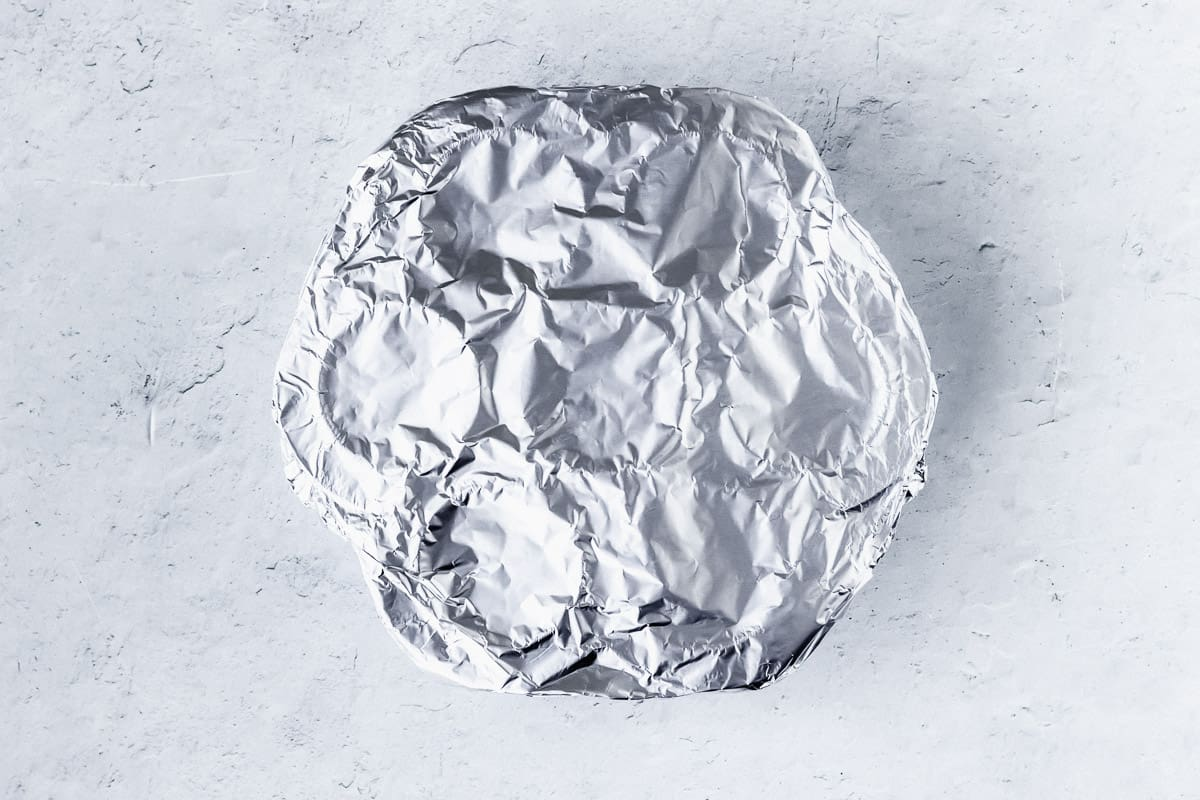 Egg mold wrapped in foil