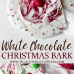 2 images of White chocolate christmas bark stacked on top of each other separated by text overlay