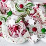 White chocolate christmas bark stacked on top of each other