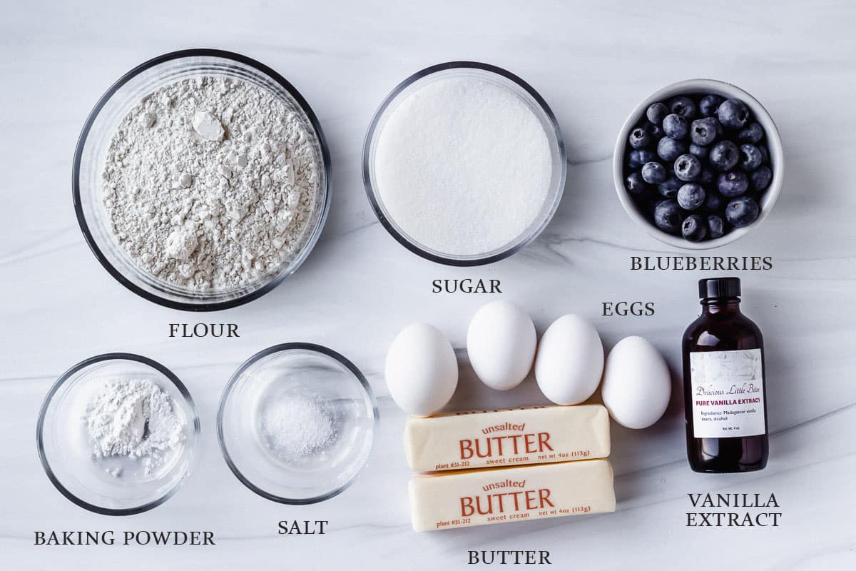 Ingredients to make a blueberry pound cake with labels on a white background