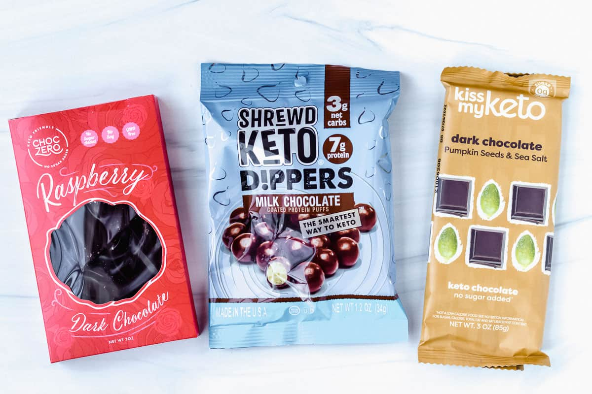 3 keto chocolate snacks laid out on a white background