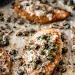 Creamy chicken piccata with text overlay