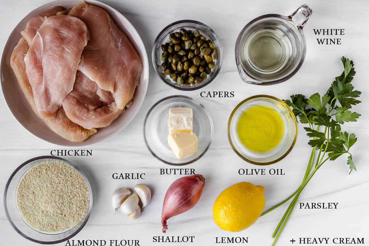 Ingredients to make keto creamy chicken piccata with labels