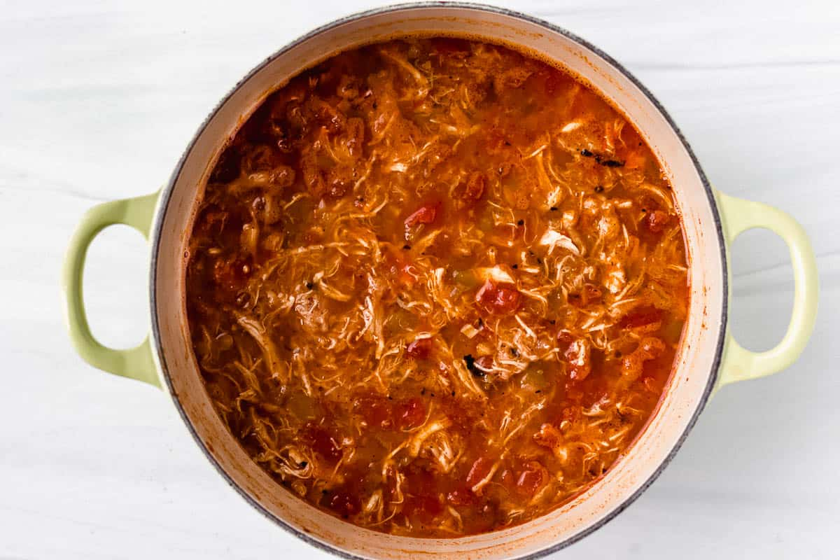 Overhead of keto chicken tortilla soup in a Dutch oven over a white background