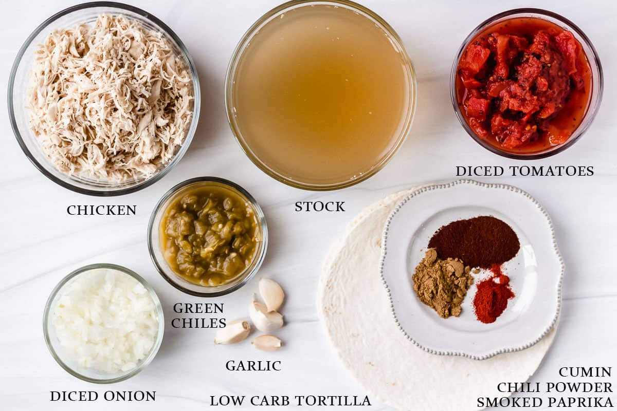 Ingredients to make keto chicken tortilla soup on a white background with labels