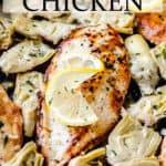 lemon artichoke chicken with text overlay