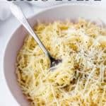 spaghetti squash cacio e pepe with text overlay