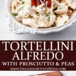 2 images of tortellini alfredo with text overlay between them