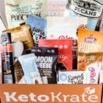 February 2021 Keto Krate with all of the keto snacks displayed inside of the box