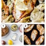 steps to make lemon artichoke chicken with text overlay