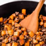maple sausage sweet potato hash with text overlay