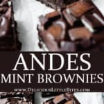 2 images of andes mint brownies separated by text overlay