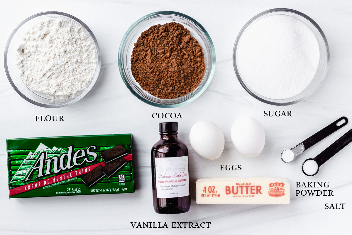 Ingredients to make Andes mint brownies labeled on a white background