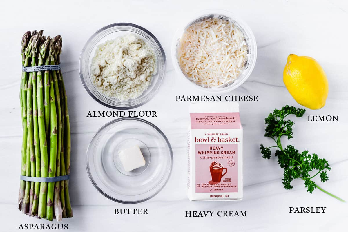 Ingredients to make broiled asparagus with parmesan cheese sauce on a white background with labels