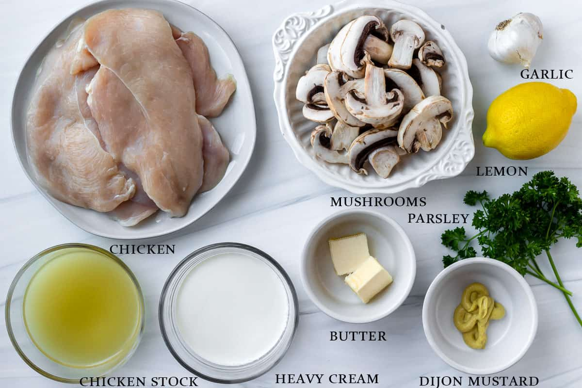 Ingredients to make chicken diane on a white background with labels