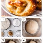 Steps to make soft pretzels with text overlay
