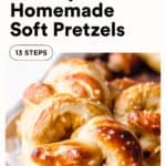 Soft pretzels with text overlay