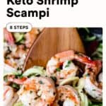 Keto shrimp scampi with text overlay
