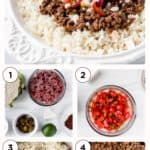 keto mexican beef bowls with text overlay