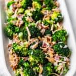 keto broccoli salad with text overlay