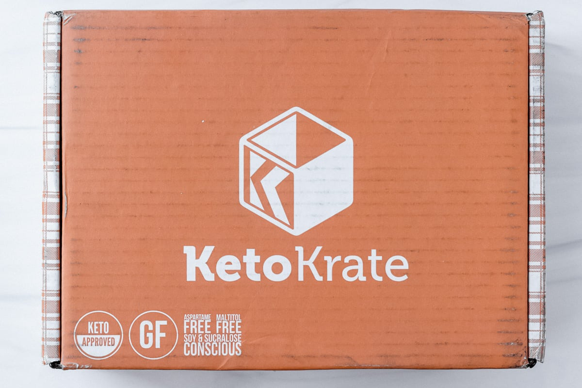 March 2021 keto krate box closed on a white background