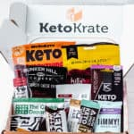 March 2021 Keto Krate box with all of the snacks included displayed inside with text overlay