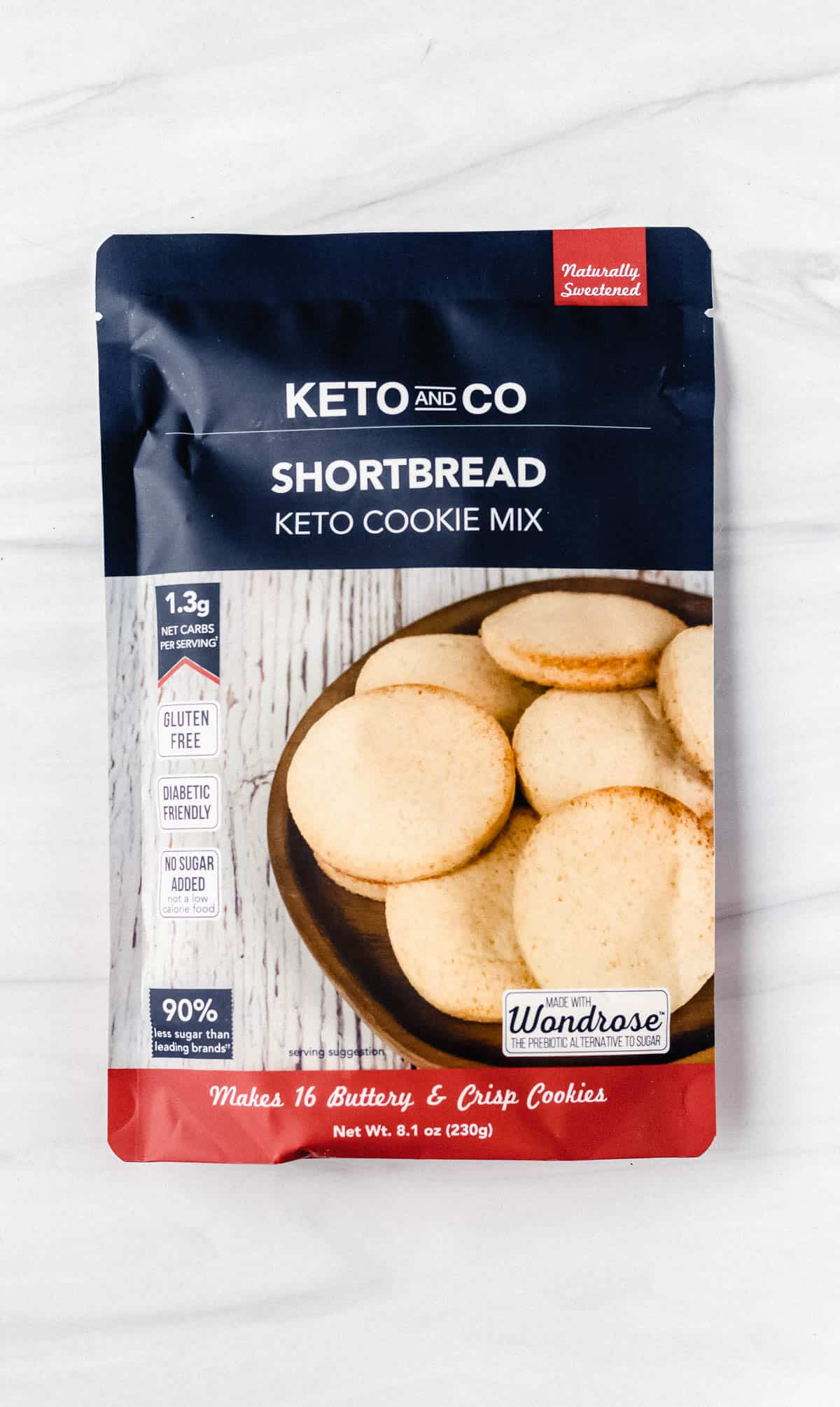 Keto and Co Shortbread Keto Cookie Mix package on a white background