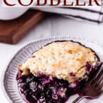 blueberry cobbler with text overlay