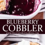 2 images of blueberry cobbler with text overlay between them