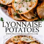 2 images of Lyonnaise potatoes with text overlay between them