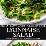 2 images of lyonnaise salad with text overlay between them