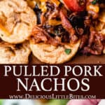 2 images of pulled pork nachos on plantain chips with text overlay between them