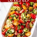 Tomato basil salad with text overlay