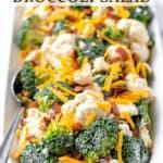 Amish broccoli salad with text overlay