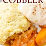 Apricot cobbler with text overlay