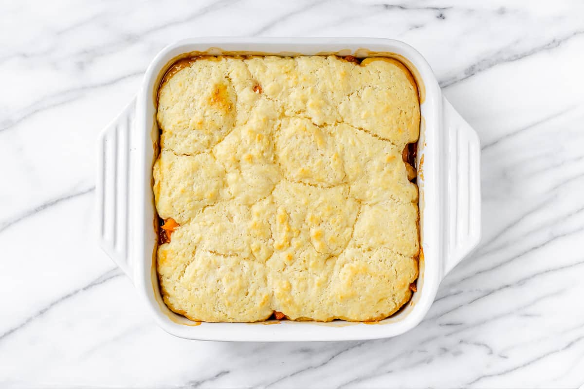 Baked apricot cobbler in a square, white baking dish