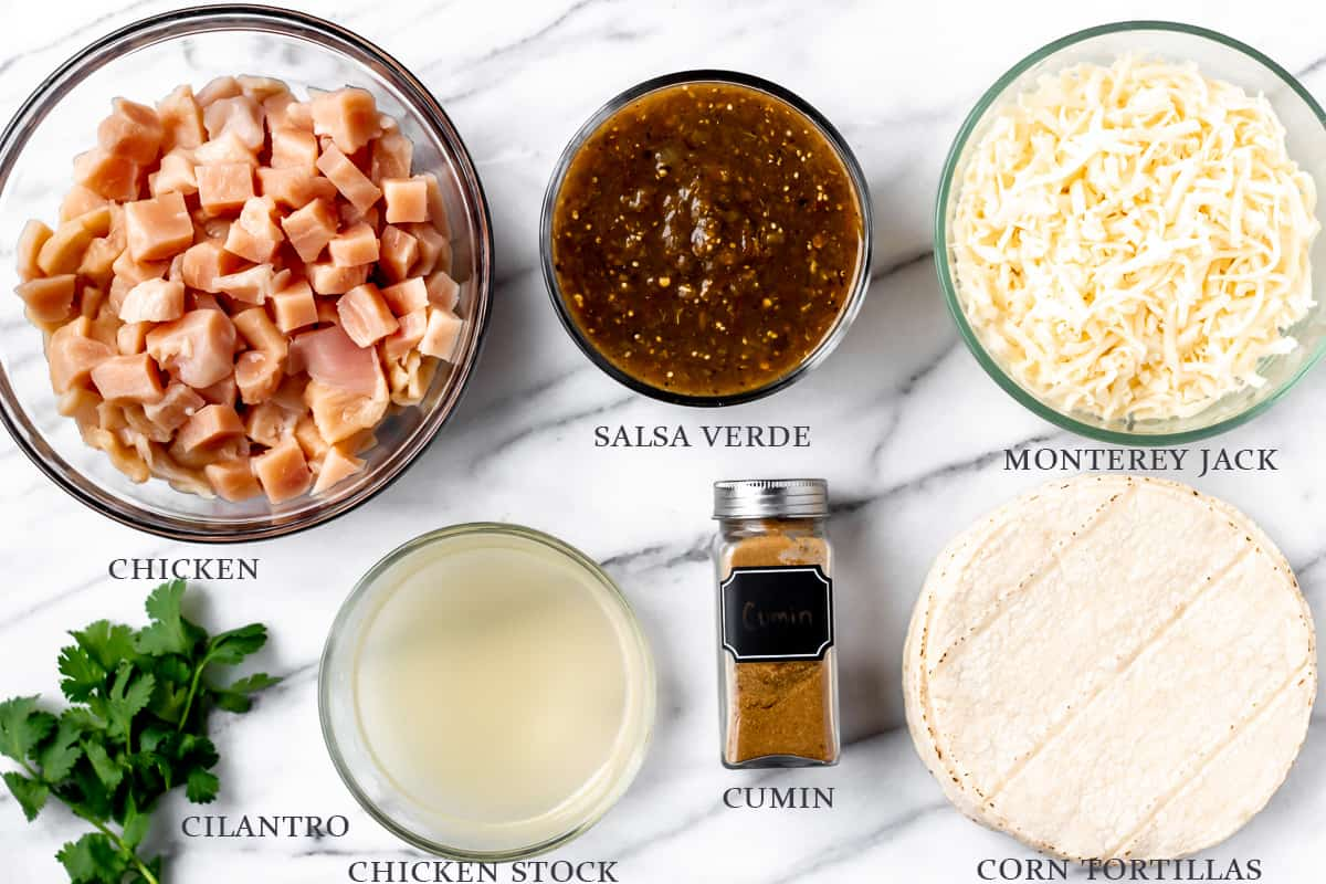 Ingredients for chicken enchilada casserole on a white background with labels
