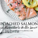 2 images of poached salmon with text overlay between them