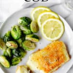 Potato crusted cod with text overlay
